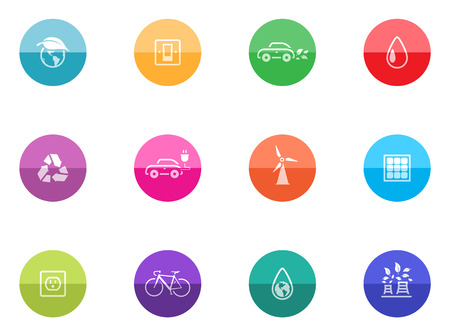 clean energy: Environment icon series in color circles  Illustration