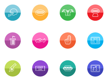 American Football related icon series in color circles  Vector
