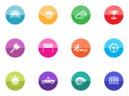 Racing icons in color circles Vector
