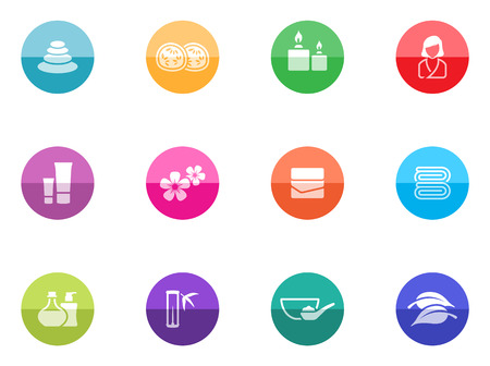 Spa related icon series in color circles  Vector