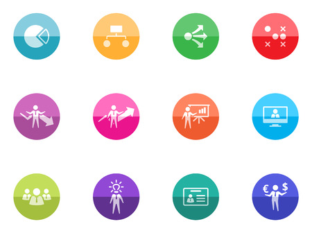 Management icons in color circles Vector