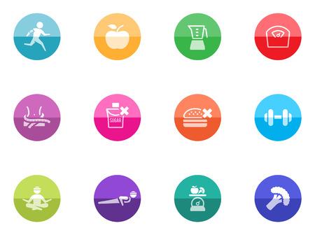 フィットネス: 健康的な生活の色の円のアイコン  イラスト・ベクター素材