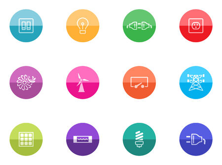 Electricity icons in color circles  Vector