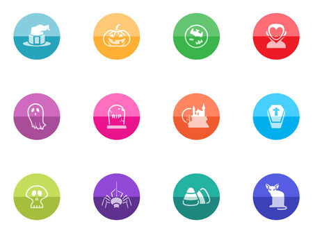 Halloween icon series in color circles  Vector