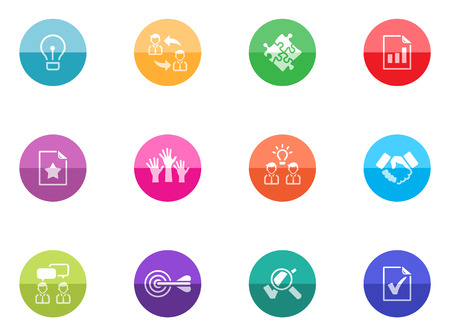 Management icon series in color circles  Vector