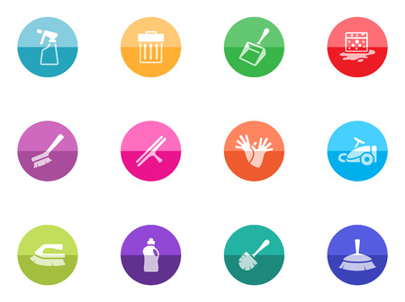 Cleaning tool icon series in color circles
