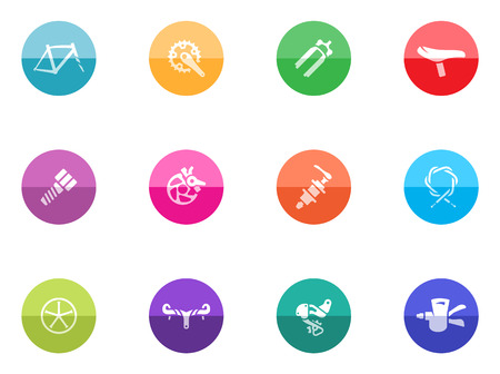 Bicycle part icons series in color circles  Vector