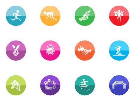Run competition icon series in color circles  Vector