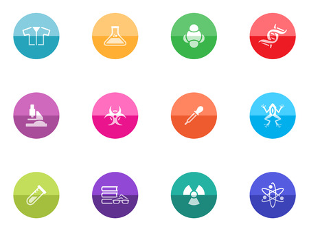 Science icons in color circles  Vector