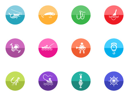 sinker: Fishing icons in color circles