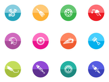 Motorcycle parts icons in color circles  Vector