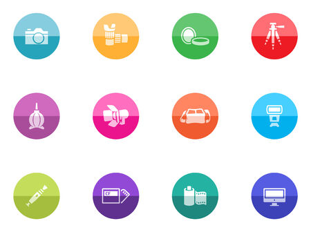 lens brush: Photography icons in color circles