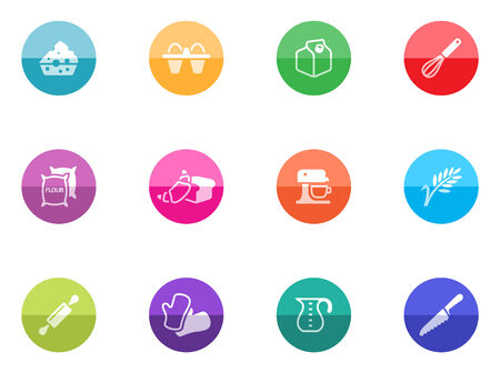 cookie cutter: Baking icons incolor circles  Illustration