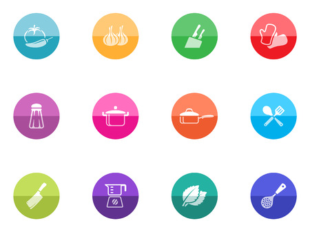 Cooking icons in color circles  Vector
