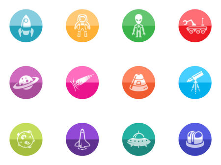 Space related icons incolor circles  Vector