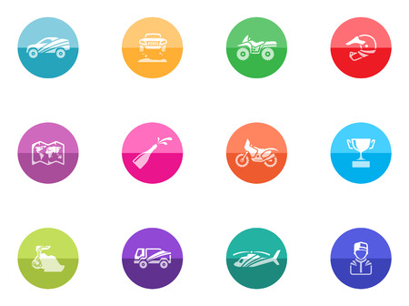 trail bike: Rally related icons in color circles