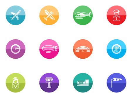 Aviation icons in color circles   Font used  Collaborate Bold Vector