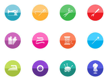 Sewing icons in color circles  Vector