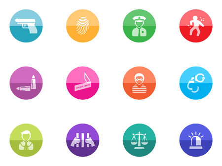 Crime icons in color circles  Vector