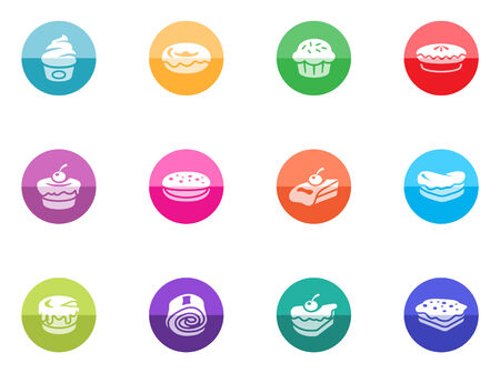 Cakes icons in color circles  Vector