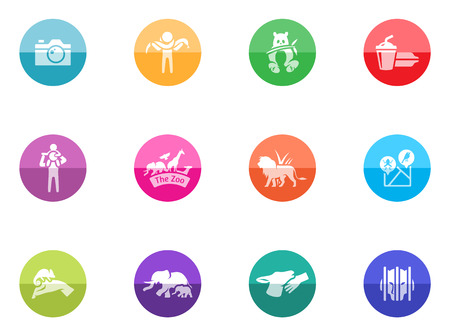 Zoo icons in color circles  Vector