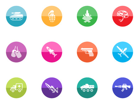 Military icons in color circles  Vector