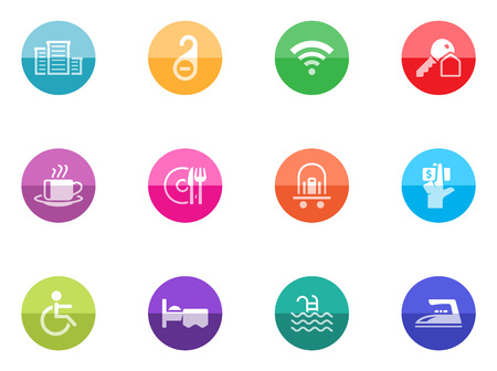 Hotel icons in color circles  Vector