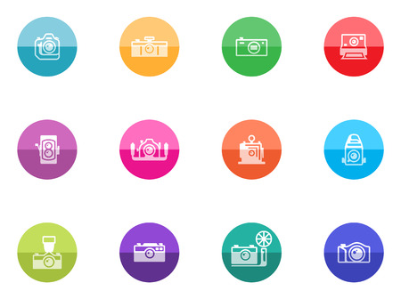 journalistic: Camera icons in color circles