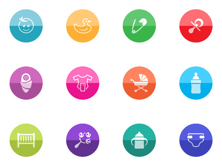 Babies icons in color circles  Vector