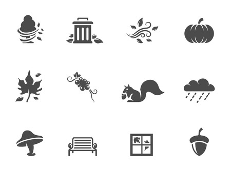 Autumn icons in single color Vector