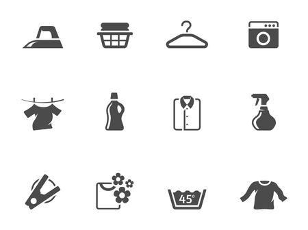 lavanderia: Iconos de lavandería en un solo color Vectores