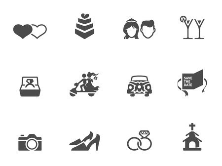civil partnership: Wedding icons in single color