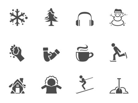 Winter icons in single color Vector