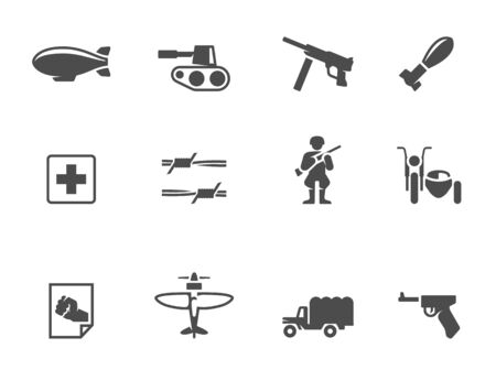 World War icons in single color Vector