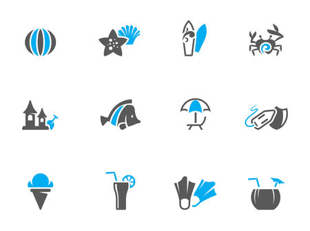 duo tone: Beach icons in duo tone colors   Illustration