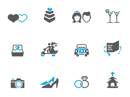 Wedding icons in duo tone colors Vector