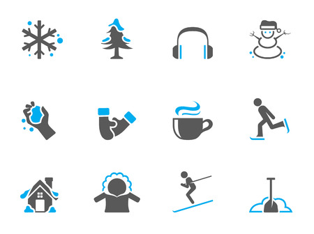 hot chocolate: Winter icons in duo tone colors Illustration
