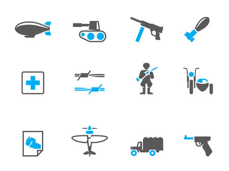 duo tone: World War icons in duo tone colors Illustration