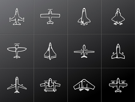 jet fighter: Airplane silhouette icons in metallic style Illustration