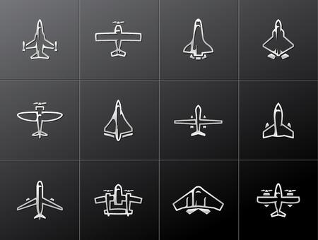 Icônes avion de silhouette dans le style métallique Vecteurs