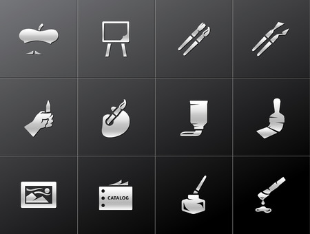 Artist icons in metallic style Vector