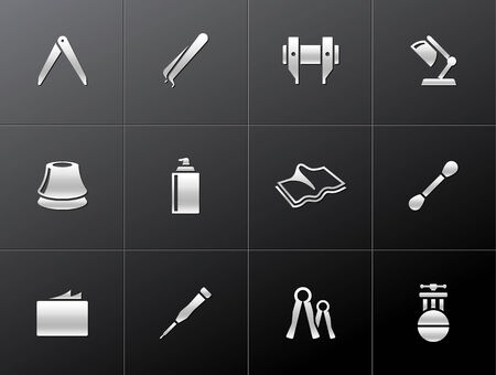 friction: Camera repair tool icons in metallic style  Illustration