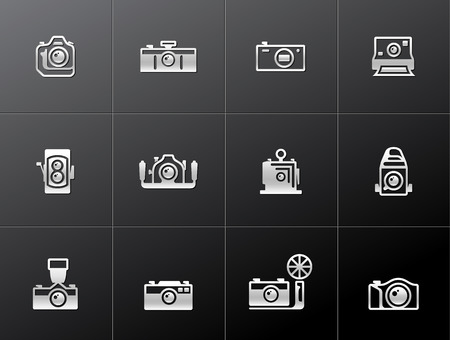 journalistic: Camera icons in metallic style