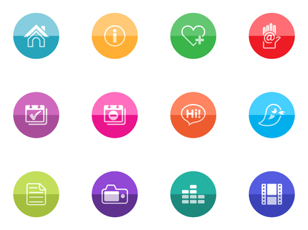 Icons set for personal portfolio website in color circles. Vector
