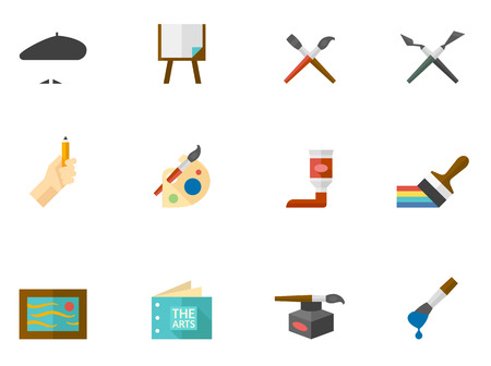 Artist icons in flat colors style. Vector