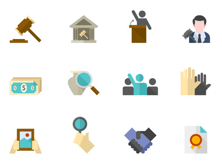 auctioneer: Auction icons in flat colors style. Illustration