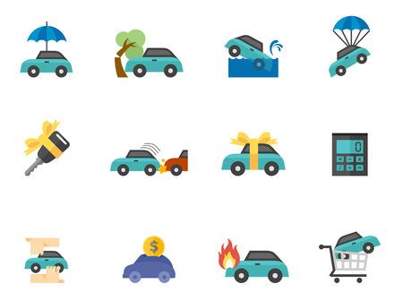 単調な色のスタイルの車保険アイコン。  イラスト・ベクター素材