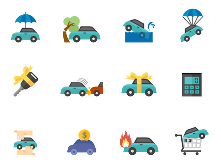 Car insurance icons in flat colors style. 向量圖像