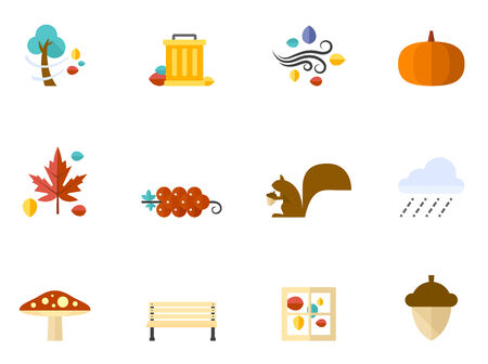 Autumn icons in flat colors style. Vector