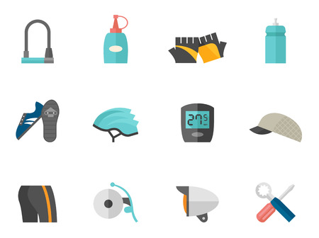 bicycle helmet: Bicycle accessories icons series in flat colors style. Illustration